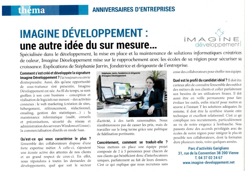 Entreprendre - Rubrique Anniversaires d'entreprises – Mai 2017 – 33ème année – n°310